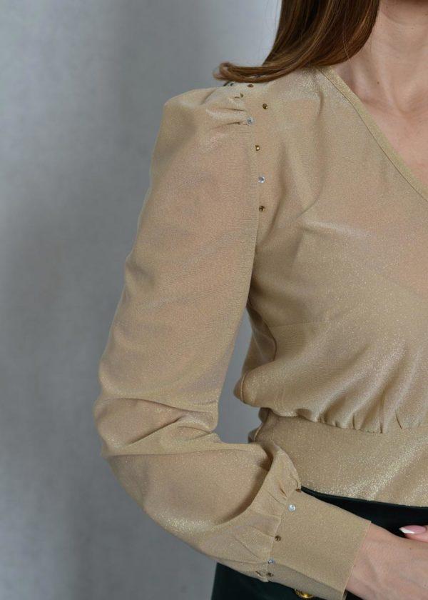 Glow zlatna bluza sa puf rukavima Zupac